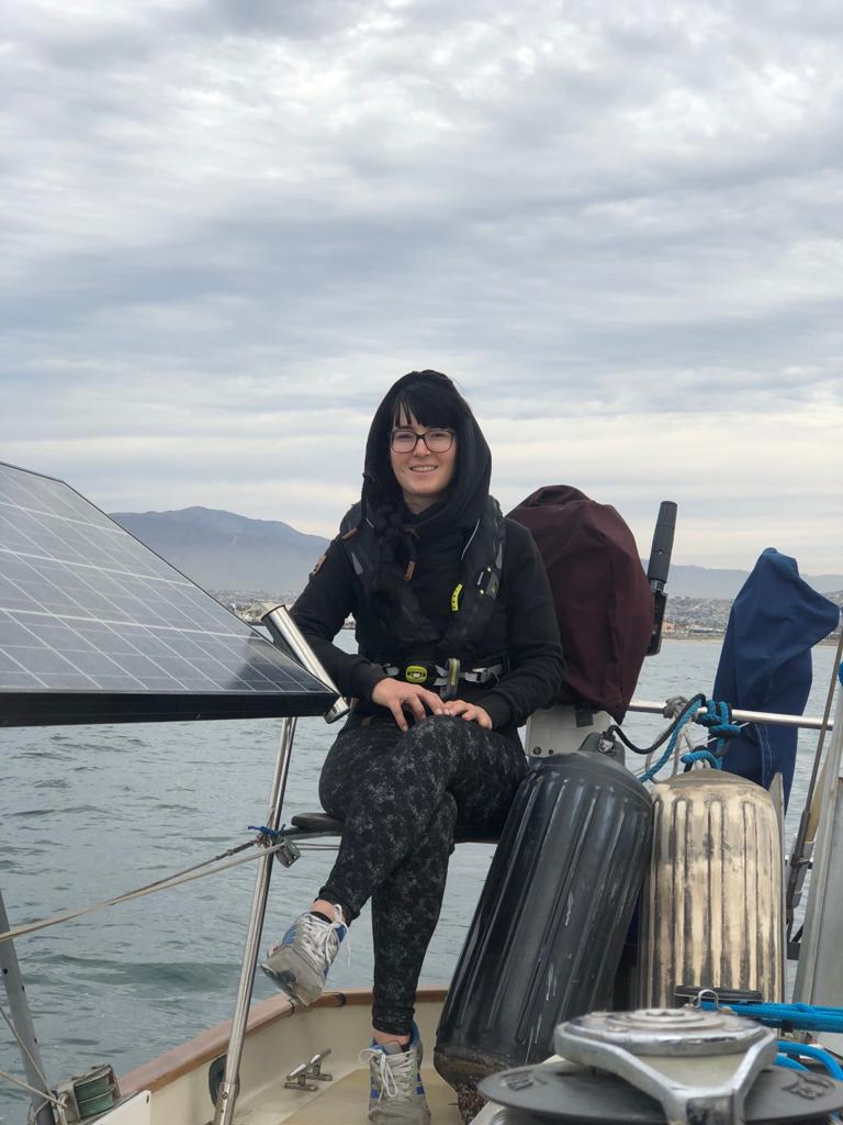 Patricia is happy to enjoy one of the best things about boat life: sailing!