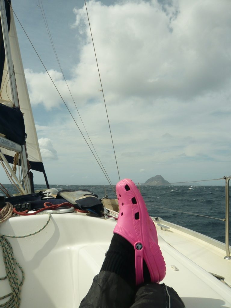Patricia enjoying a good sail in Cape Verde