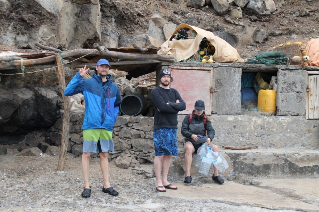 The crew waiting for pick-up in the harbour of São Nicolau, Cape Verde