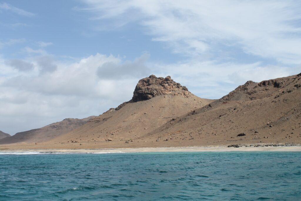 Beautiful anchorage in the bay of the uninhabited island of Santa Luzia, Cape Verde