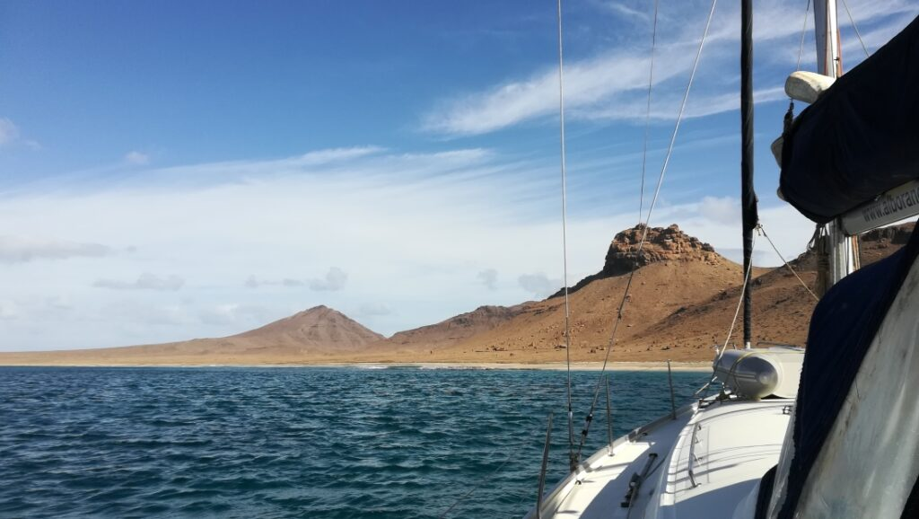 Our sailboat Whiskey anchored in the bay of Santa Luzia, Cape Verde