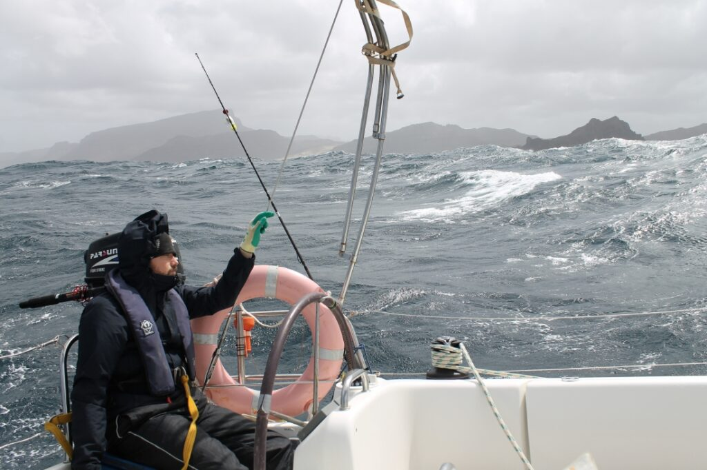 David enjoys the rough sea state when sailing Cape Verde