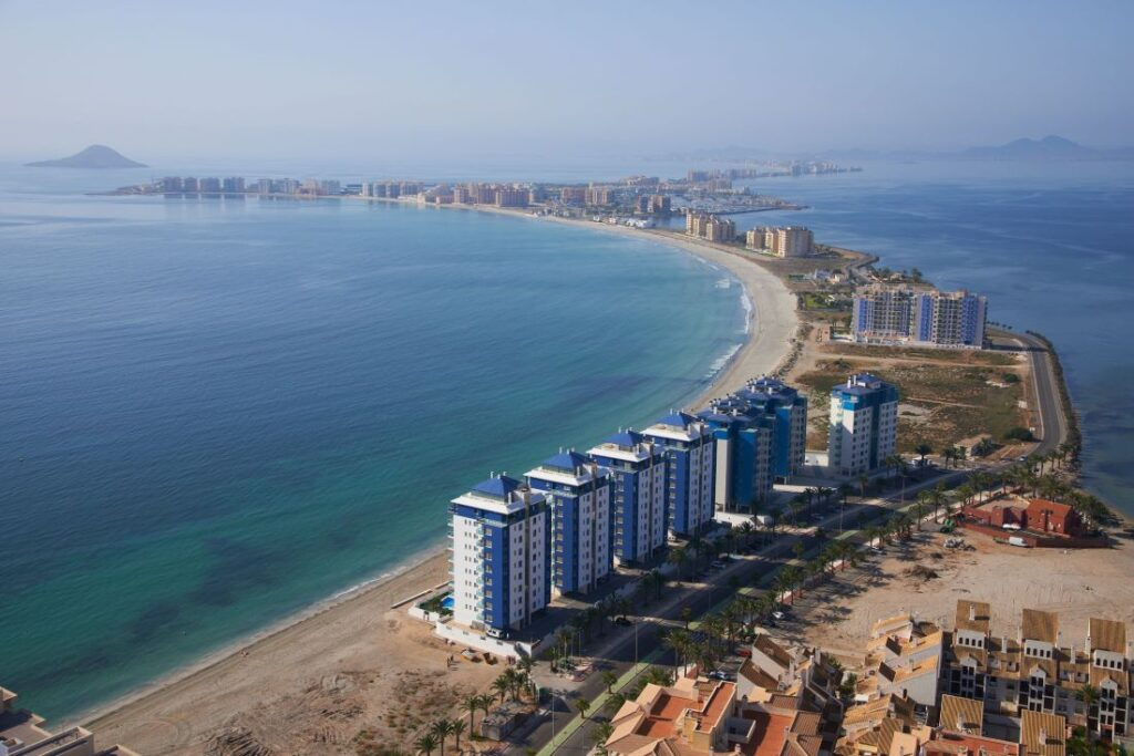 Helicopter view of La Manga, our base for the sailboat inspections
