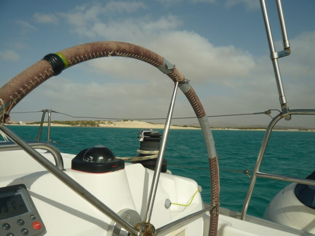 The view from our sailing boat to the island Boa Vista in Cape Verde