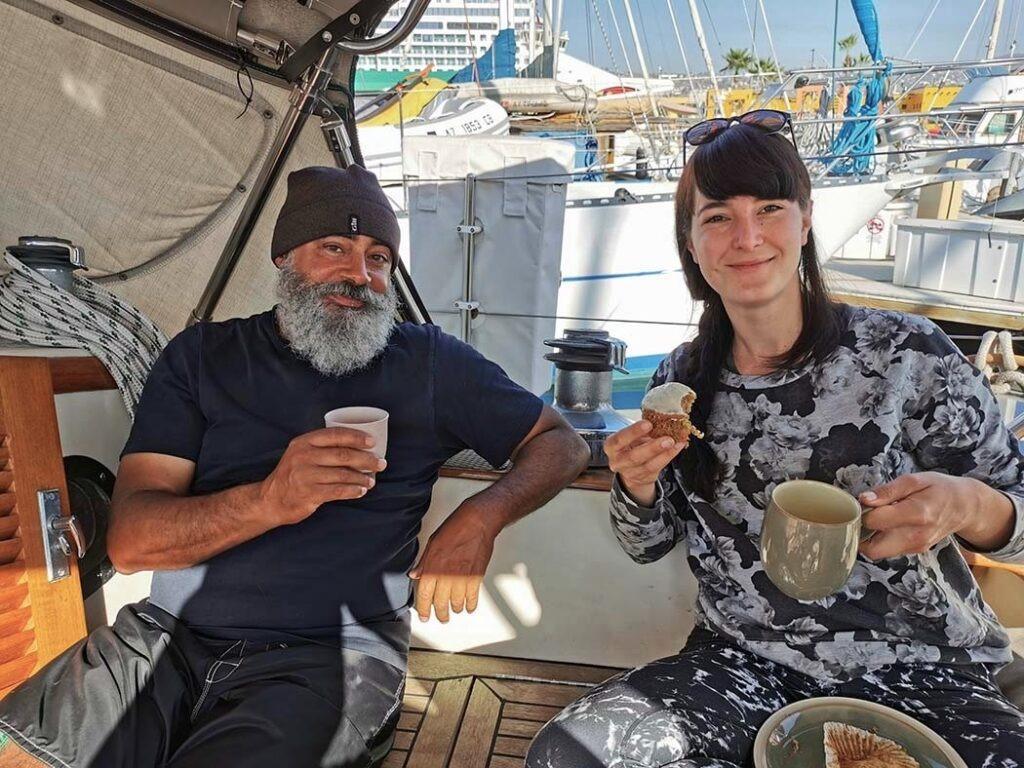 Max and Pati enjoying their morning coffee