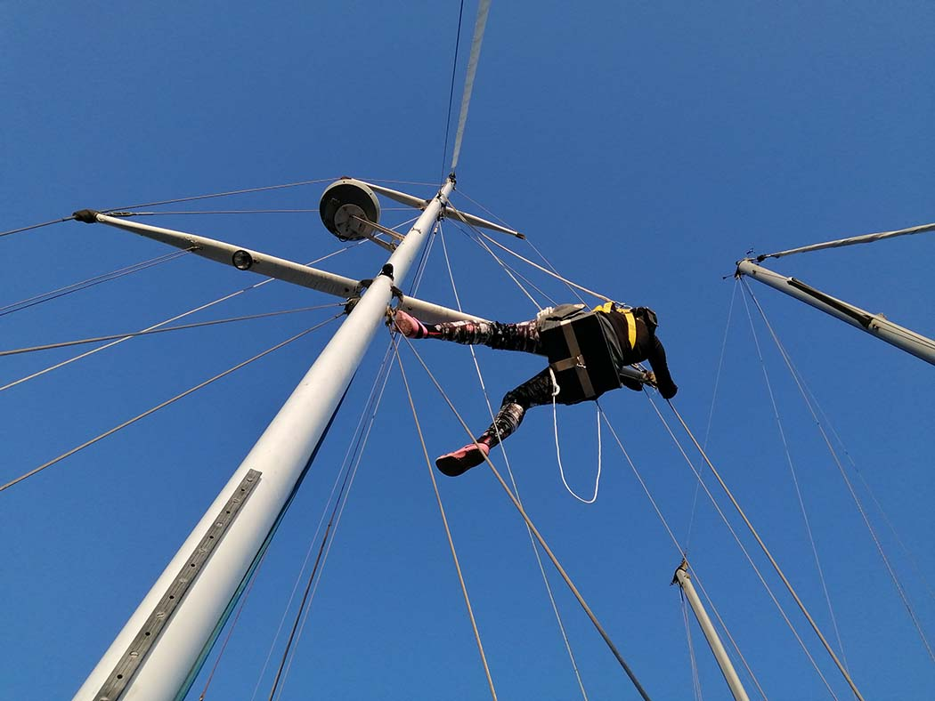 Pati working on the rigging