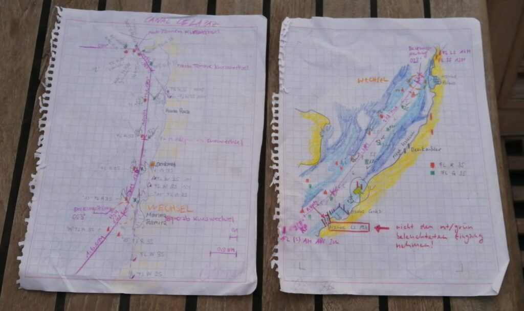 Hand made passage plan for La Paz