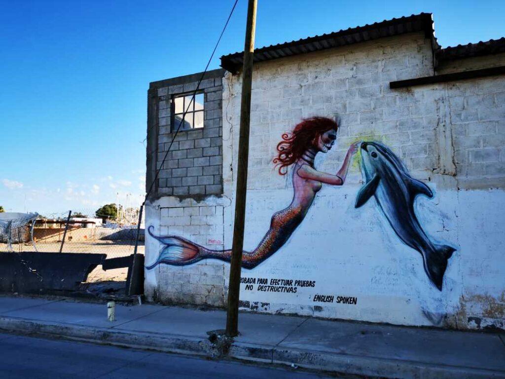 Eine Wandmalerei direkt neben der Astillero Cabrales zeigt eine Meerjungfrau im Zusammenspiel mit einem Vaquita