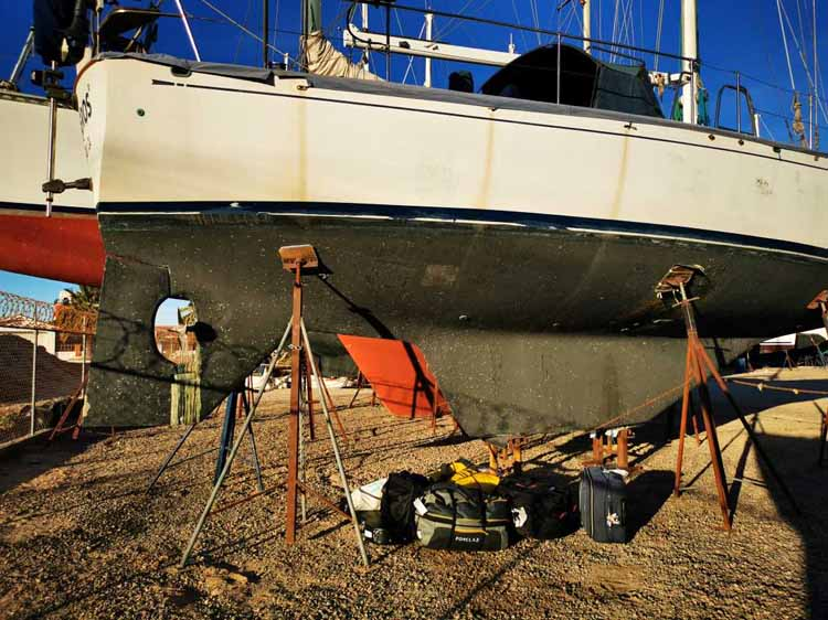 Our baggage in front of our Kelly Peterson 44 bluewater cruiser sailboat.