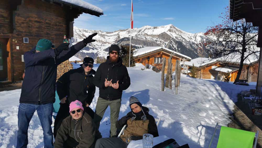 My group of boys hanging out in the snow of the Swiss Alps at Axalp
