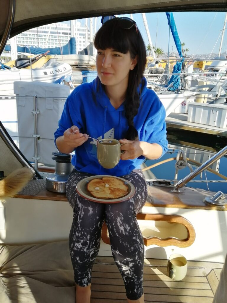 Pati enjoying the coffee ritual on Max' boat 'Galena'