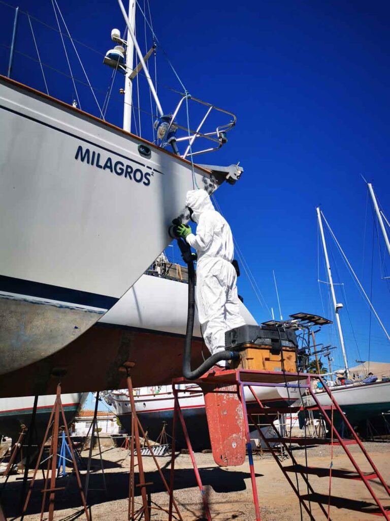 Sanding a sailboat