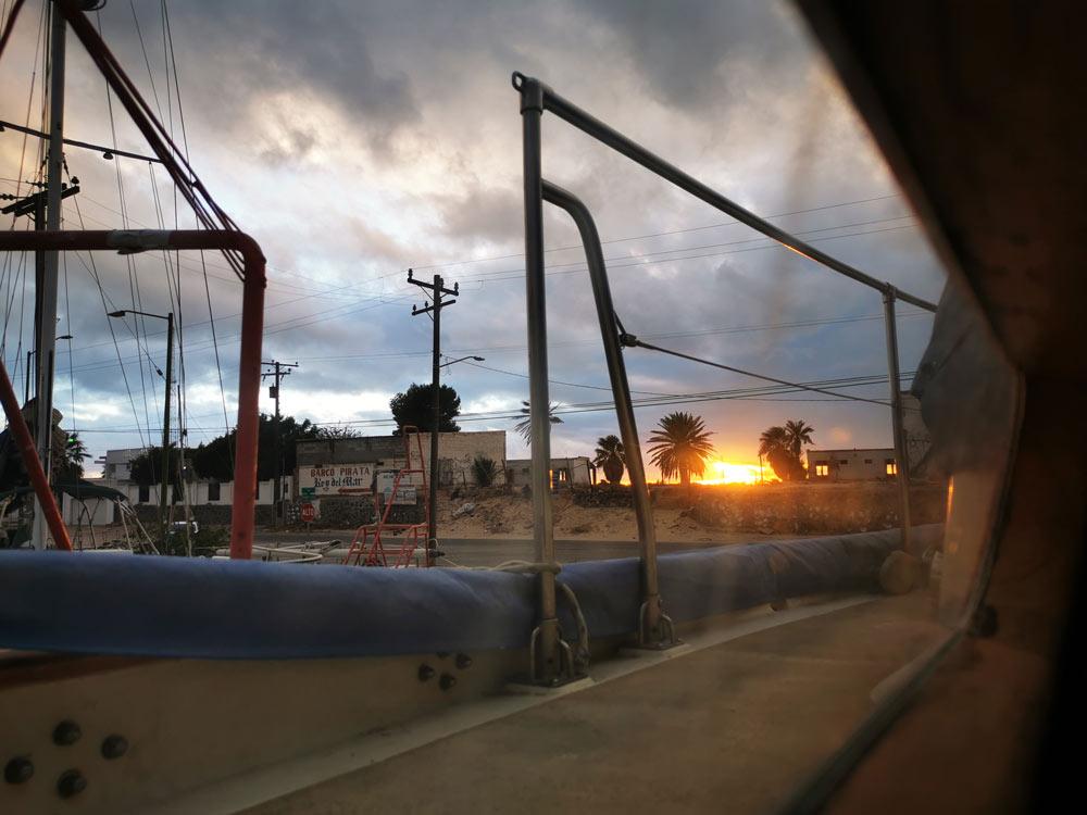 Sunset on the Cabrales boatyard in Rocky Point, Puerto Peñasco.