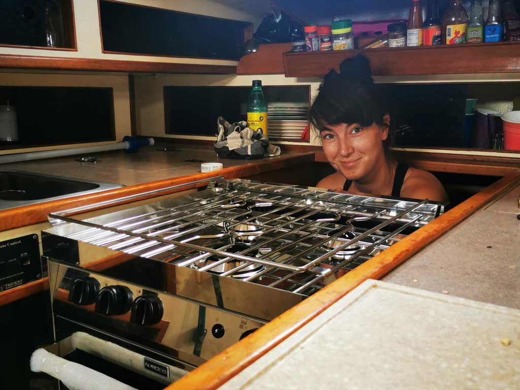 Pati doing gas installations for our new Force 10 stove