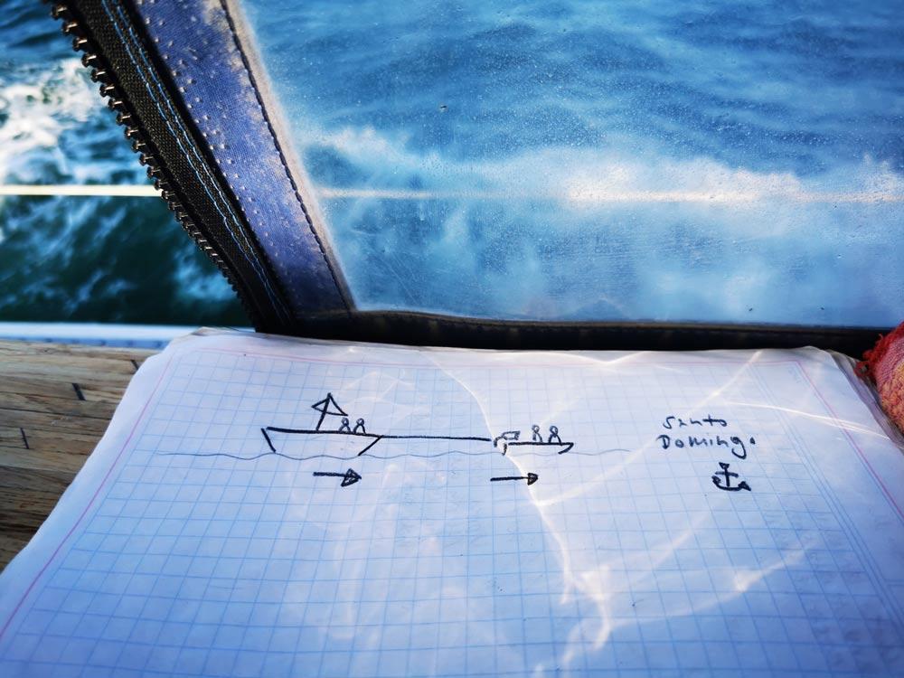 Drawing of towing a sailboat