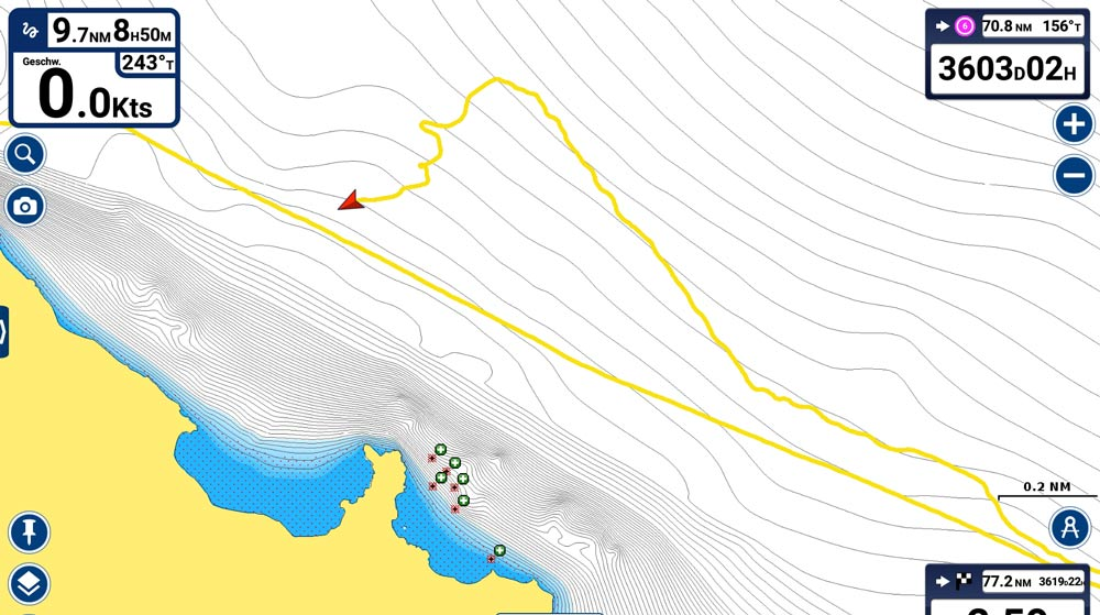 Navionics drifting track
