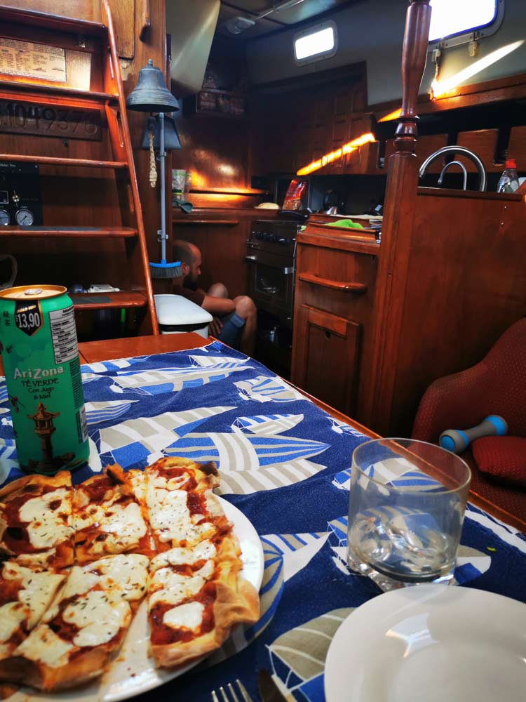 Pizza on a sailboat
