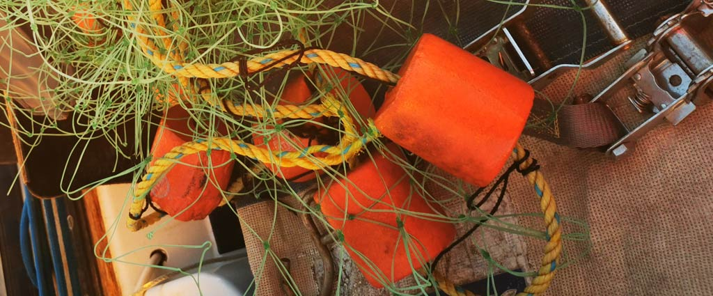 Fishing gear on a sailboat