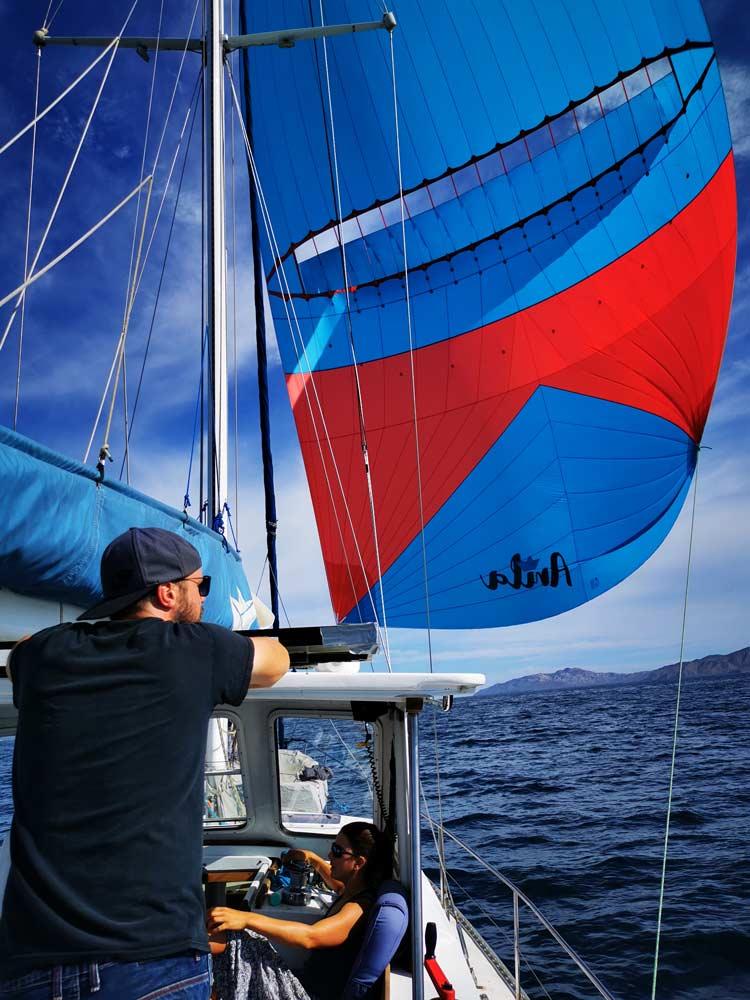 Oxley Levante Parasail auf einem Cal 2-46 Blauwasser Segelschiff