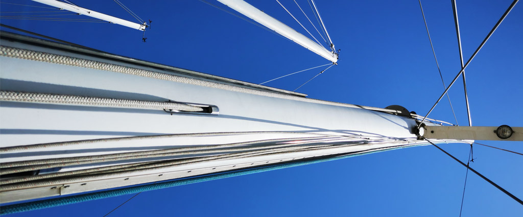 The mast of a Kelly Peterson 44 bluewater cruiser sailboat