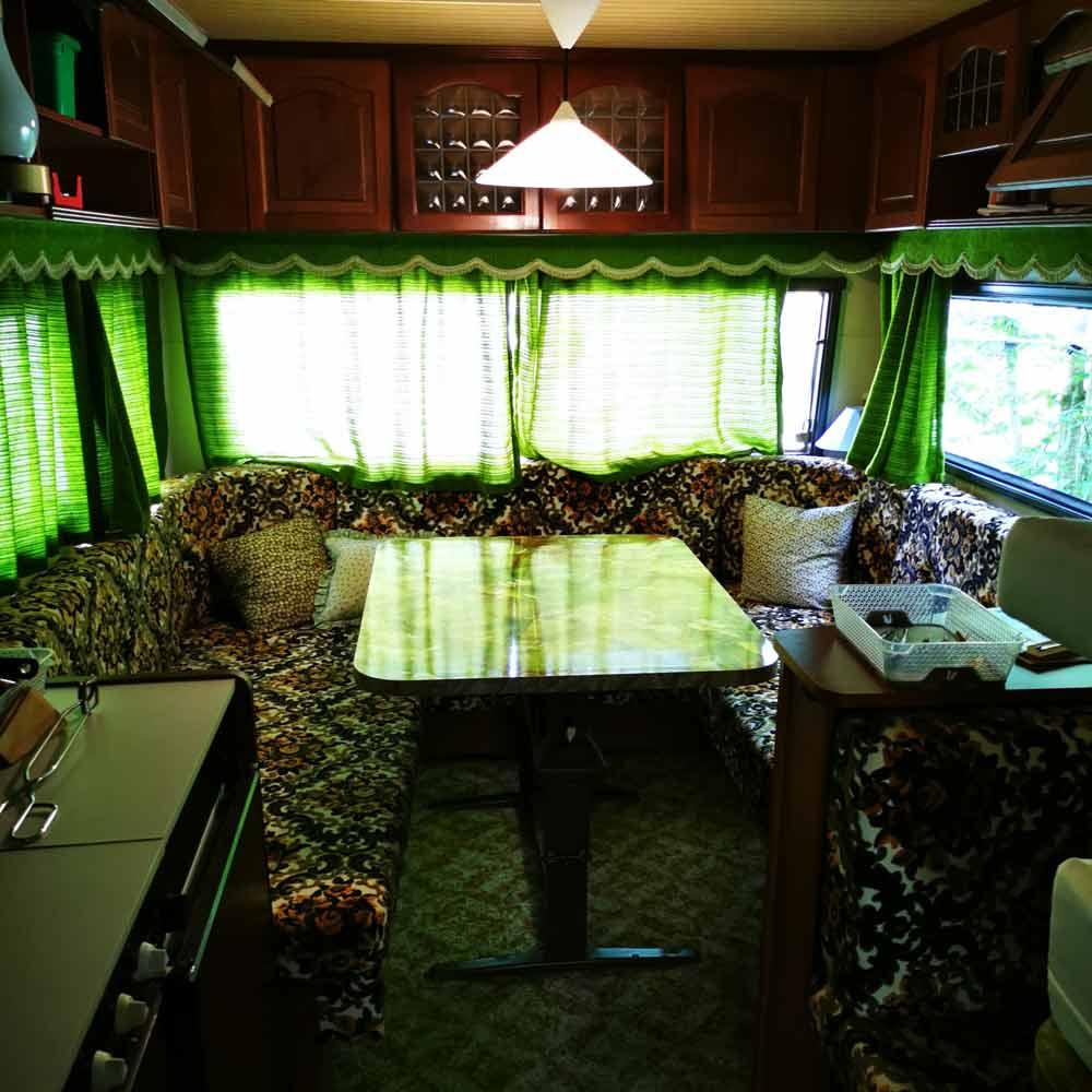 Inside a caravan in Switzerland